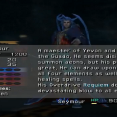 Seymour's scan data in <i>Final Fantasy X</i>.