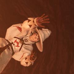 Edda falls off the cliff.