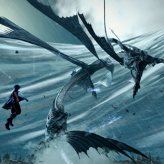 Noctis fights Leviathan.
