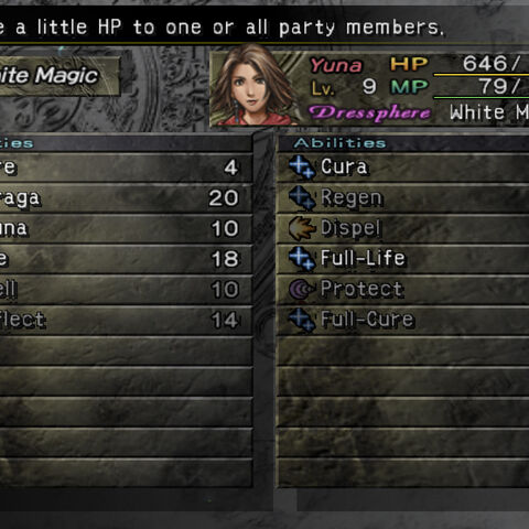 The White Magic menu (PS2).