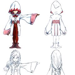 Concept art of Garnet with a White Mage's robe.