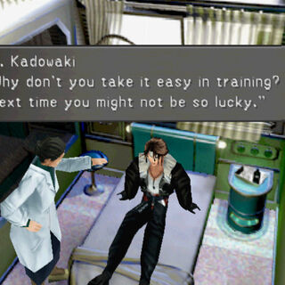 Dr. Kadowaki talking to Squall.