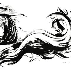 Alternate artwork of the <i>Final Fantasy X</i> logo by Yoshitaka Amano.