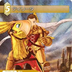 Card depicting Delita in <i>War of the Lions</i>-style artwork riding a chocobo.