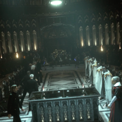 The leaders of Lucis (left) and Niflheim (right) meet.