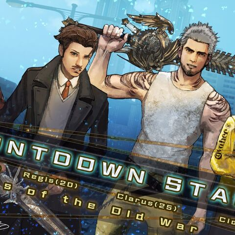 Launch day countdown artwork depicting Weskham, Regis, Clarus, and Cid.
