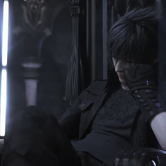Noctis sleeping on the throne; a scene based on the announcement trailer.