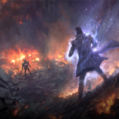 Concept artwork of Nyx's fight with Glauca.