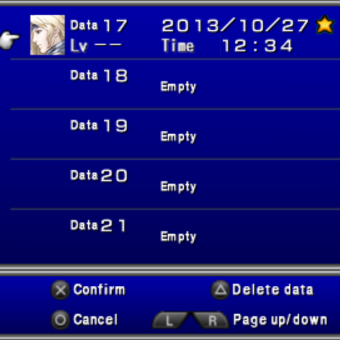 The Save menu in the <i>Complete Collection</i> for PSP.