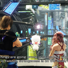 Mog talks to Noel and Serah in Academia 4XX AF.