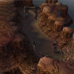The ruins of Gaia and the Forsaken Lands Gateway in World B in <i>Dissidia 012</i>.