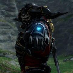 Gaius preparing to shoot his arm-cannon.