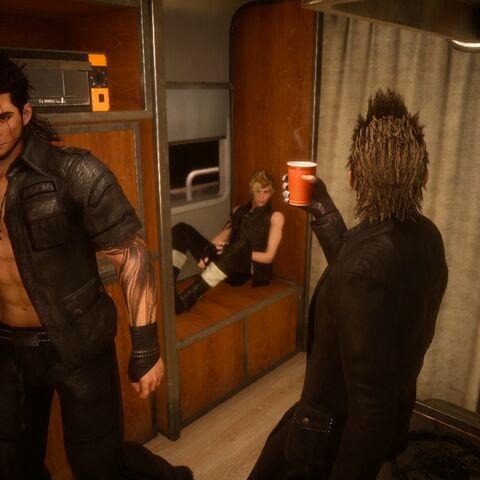 The party inside a caravan.