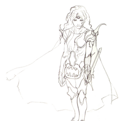 Akira Oguro concept sketch of Paladin Cecil (DS).