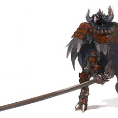 Concept art of a Yagudo Notorious Monster.