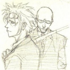 Artwork of Reno and Rude from <i>Final Fantasy VII Lateral Biography Turks -The Kids Are Alright-</i>.