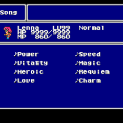 The Song Magic menu in the SNES version.