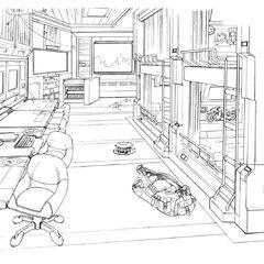 Dorm room concept art.