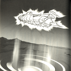 Akira Oguro artwork of the <i>Lunar Whale</i> rising, from the <i>Final Fantasy IV</i> official novelization.