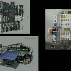 Concept art of buildings found in Luxerion.