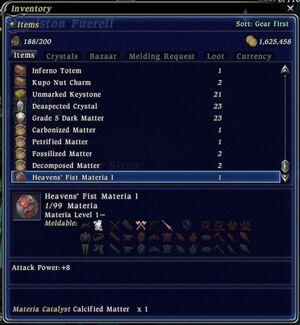 FFXIV Materia menu
