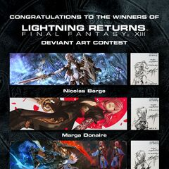 Official Lightning fanart contest with Tetsuya Nomura's sketches for the winning Lightning designs.