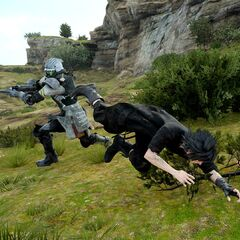 Noctis fighting Magitek Troop.