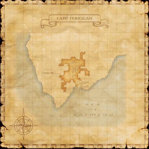 A map of Cape Teriggan.