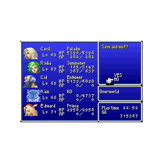 Quicksave in the GBA version.