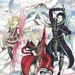 Artwork of Fina, Rain and Lasswell by Yoshitaka Amano.