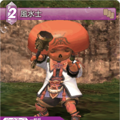 Trading card of a Tarutaru as a Geomancer.