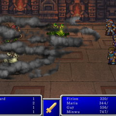 Blind cast on all enemies in <i>Final Fantasy II</i> (iPod).