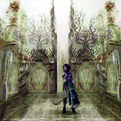 Artwork of Yuna in Iutycyr Tower.