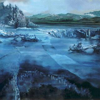 Artwork of Macalania Lake.
