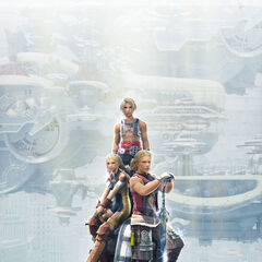 Promotional artwork of Penelo with Basch and Vaan.