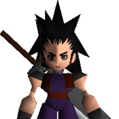Zack wielding his sword in <i>Final Fantasy VII</i>.