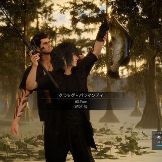 Noctis catches a fish.