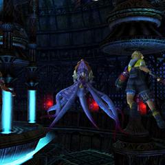 Tidus and Rikku fight Tros.