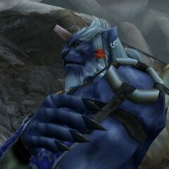 Close-up of Kimahri in <i>Final Fantasy X-2</i>.