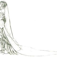 Concept art of Yuna's wedding dress by Tetsuya Nomura.