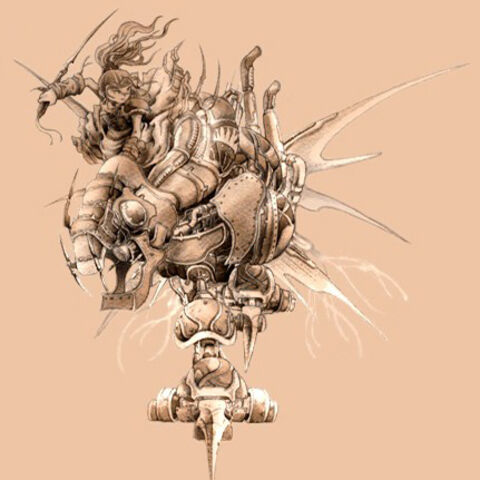 Terra rides a Magitek Armor.