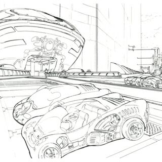 Concept art of the outside of the laboratory.