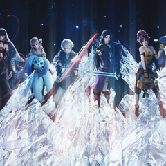 Fina and the cast of <i>Final Fantasy Brave Exvius</i> in the <i>Touch It</i> music video.