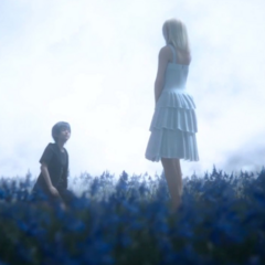 Young Noctis and Lunafreya on a field of sylleblossoms.