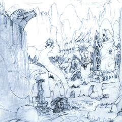 Concept art of the gates of Burmecia.