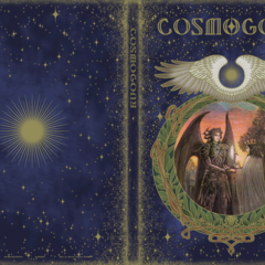 On the cover of the <i>Cosmogony</i> books, Bahamut gives a king a crystal.