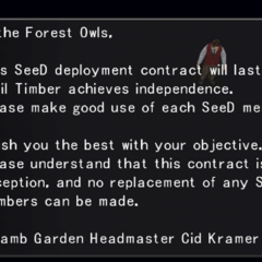 The contract agreement between Balamb Garden and the Forest Owls.