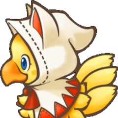 Chocobo wearing the hood as a White Mage in <i><a href=