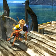 Tidus saving a girl from a collapsing hut.