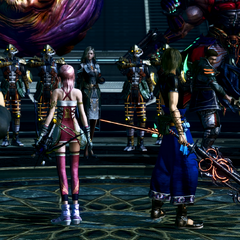 Serah and Noel confront the enemies in the Coliseum.
